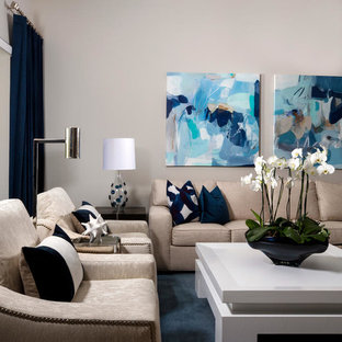 Photo of a medium sized contemporary open plan living room in Miami with grey walls, carpet, a wall mounted tv and blue floors.