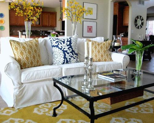 Houzz Living Room White Sofa - Euskal.Net