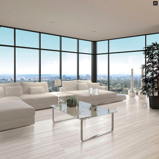 Inspiration for a large modern formal porcelain floor and white floor living room remodel in Miami