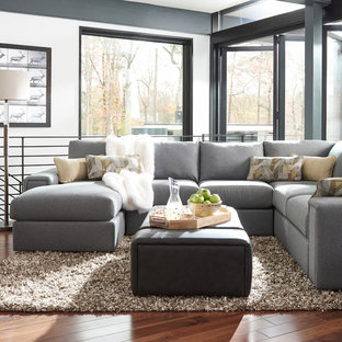 Inspiration for an industrial living room remodel in Detroit
