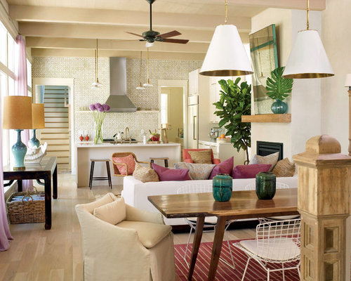 Inspiration For A Tropical Living Room Remodel In Charleston With White  Walls And A Standard Fireplace Part 31