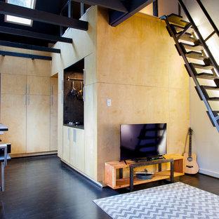 Esempio di un piccolo soggiorno contemporaneo stile loft con pavimento in compensato e TV autoportante