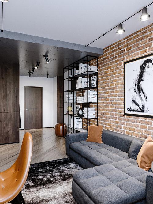 Repräsentatives, Mittelgroßes Industrial Wohnzimmer Ohne Kamin, Im  Loft Style Mit Weißer Wandfarbe,
