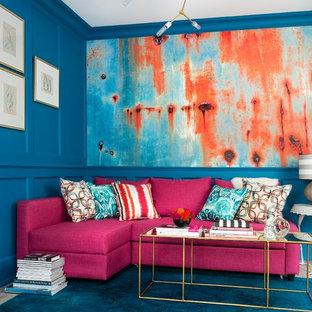 Foto de salón contemporáneo con paredes azules
