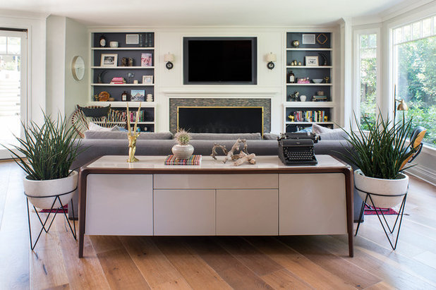 new living room.  A New Living Room Blends Midcentury and Traditional Design