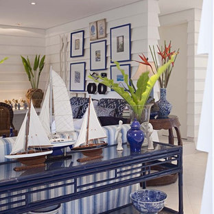 Inspiration for a contemporary living room in Other with white walls.