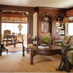mediterranean media room by Landmark Builders