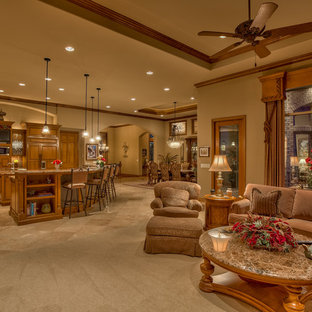 Large classic formal open plan living room in Omaha with brown walls, carpet, a freestanding tv, a standard fireplace, a stone fireplace surround and beige floors.