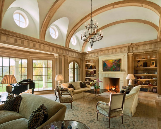 Living Room Vaulted Ceiling Houzz - Vaulted ceiling living room