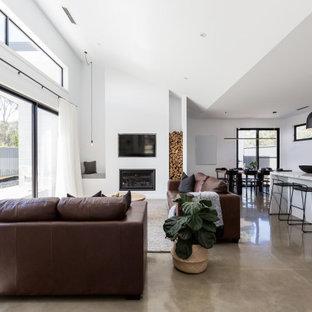 75 Beautiful Concrete Floor Living Room