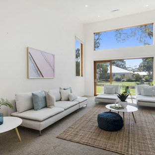 Design ideas for a beach style living room in Geelong.