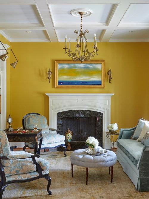 30 Trendy Dark Wood Floor Living Room with Yellow Walls Design Ideas ...