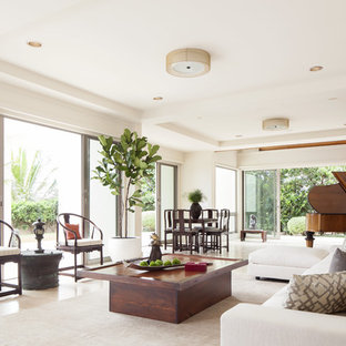 Trendy open concept living room photo in Hawaii with a music area