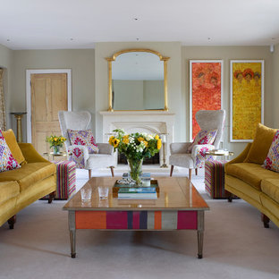 Design ideas for a traditional living room in Other with grey walls, carpet, a standard fireplace and white floors.