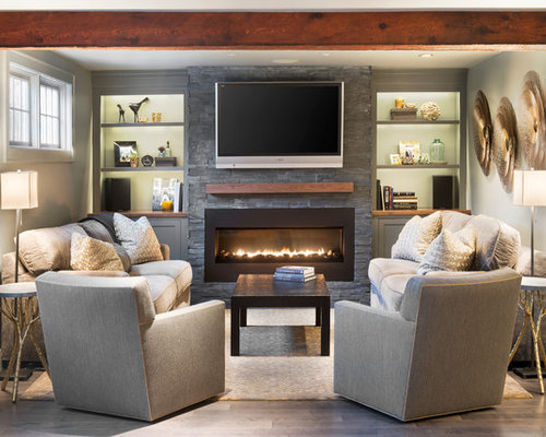Furniture arrangement around fireplace houzz for Family room furniture layout tv fireplace