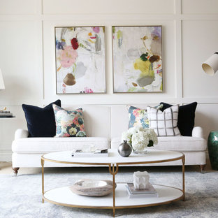 Inspiration for a transitional living room remodel in Salt Lake City with white walls