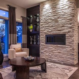 Imagen de salón para visitas actual, sin televisor, con chimenea lineal, paredes beige, suelo de madera oscura y marco de chimenea de piedra