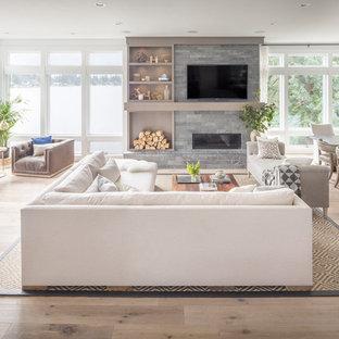 Inspiration for a transitional beige floor living room remodel in Portland