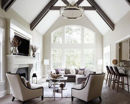 Foto di un grande soggiorno classico aperto con angolo bar, pavimento ...