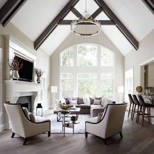 Example Of A Large Transitional Open Concept Medium Tone Wood Floor Living Room Design In Chicago
