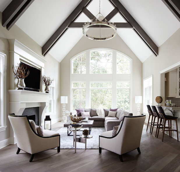 Transitional Living Room by Summit Signature Homes, Inc.