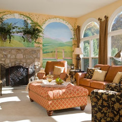 mediterranean living room by Decorating Den Interiors