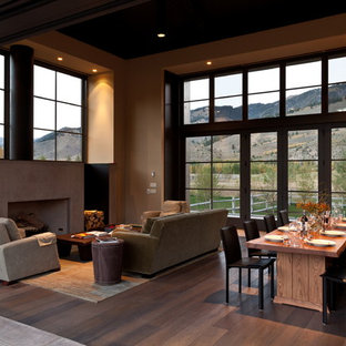 Example of a trendy open concept living room design in Boise