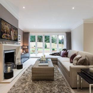 サリーのトランジショナルスタイルのおしゃれなLDK (グレーの壁、標準型暖炉、金属の暖炉まわり、壁掛け型テレビ) の写真