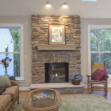 Traditional Living Room by Kirkpatrick's Construction, LLC.