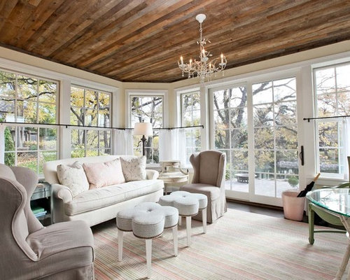 Large traditional living room idea in Minneapolis with beige walls - Barn Wood Ceiling Houzz