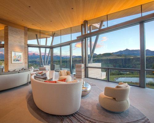 trendy open concept beige floor living room photo in denver - Houzz Interior Design Ideas