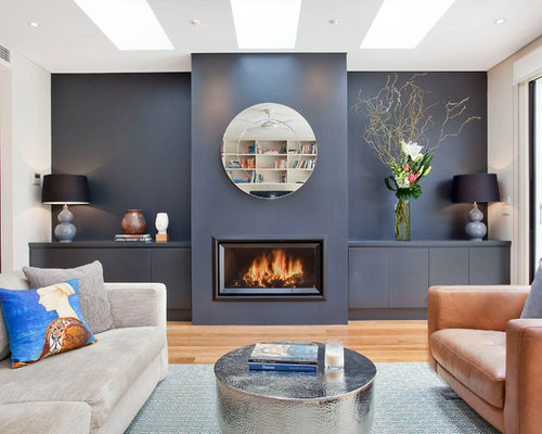 This Is An Example Of A Contemporary Open Concept Living Room In Sydney  With Blue Walls