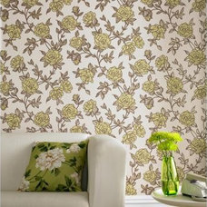 Eclectic Living Room Superfresco Rose Wallpaper