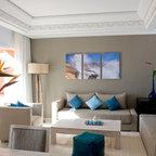 glamorous turquoise beige living room | Turquoise & Beige Living Room - Traditional