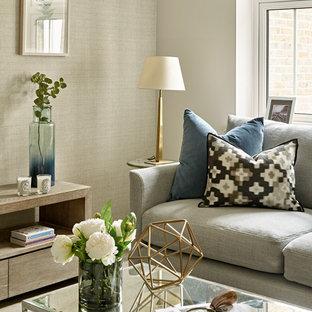 サセックスの小さいコンテンポラリースタイルのおしゃれなリビング (ラミネートの床、据え置き型テレビ、グレーの床) の写真