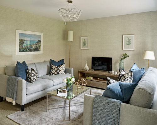 Inspiration For A Small Transitional Laminate Floor And Gray Living Room Remodel In Sussex With