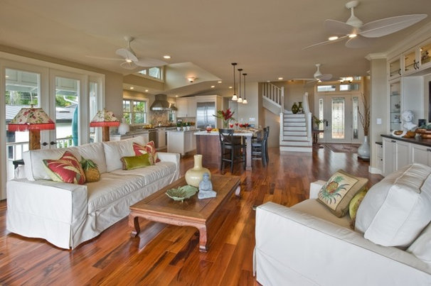 Tropical Living Room by Archipelago Hawaii Luxury Home Designs