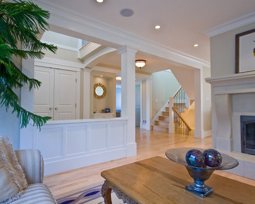 Living Room Designs With Pillars : Half wall with column houzz