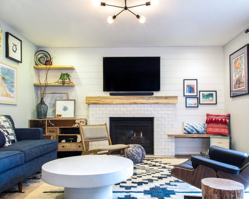 Small Eclectic Formal And Enclosed Carpeted And Multicolored Floor Living  Room Idea In Portland With White Part 58