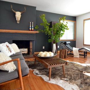 75 Contemporary Living Room With A Brick Fireplace Ideas Explore