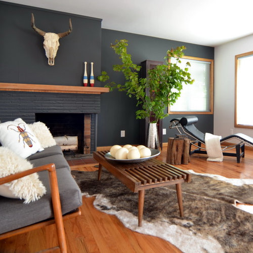 Contemporary Medium Tone Wood Floor Living Room Idea In Portland With Gray  Walls, A Brick