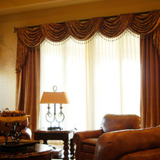 Traditional Living Room by ATHENA'S WINDOW FASHIONS