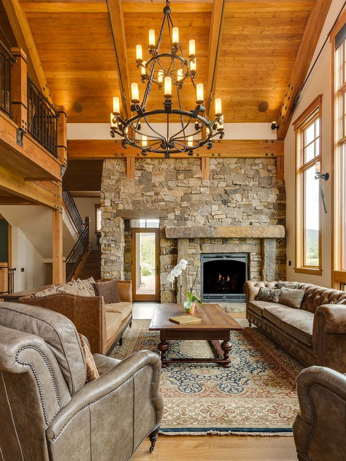 Rustic Loft Style Medium Tone Wood Floor And Brown Floor Living Room Idea  In Albuquerque Part 32