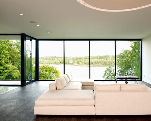 Mid Sized Minimalist Open Concept Living Room Photo In Minneapolis With  Concrete Floors, White