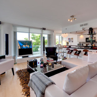 Large minimalist open concept light wood floor living room photo in Miami with a music area, white walls, no fireplace and a tv stand