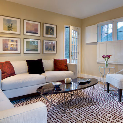 Trendy living room photo in Boston with beige walls
