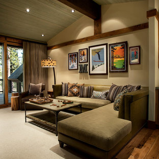 Country living room in Sacramento with beige walls and dark hardwood floors.