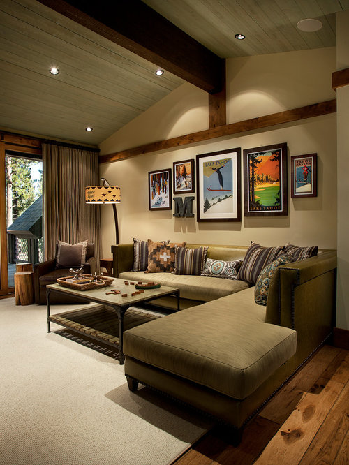 Inspiration For A Rustic Dark Wood Floor Living Room Remodel In Sacramento  With Beige Walls