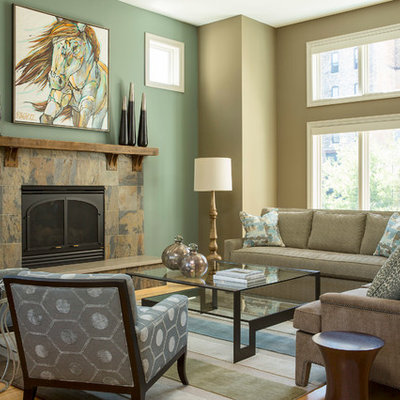 Inspiration for a timeless living room remodel in Minneapolis with green walls