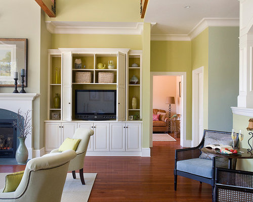 Large Traditional Open Concept Living Room Idea In Boston With Green Walls A Standard Fireplace